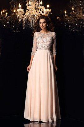 A-Linie Chiffon 3 /4 Länge Ärmeln Prinzessin Bodenlanges Abendkleid