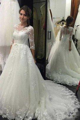 Vintage Dreiviertel Länge Ärmeln Romantisches Legeres Brautkleid mit Knöpfen
