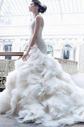 Ärmelloses Organza Elegantes Brautkleid aus Spitze mit Juwel Ausschnitt
