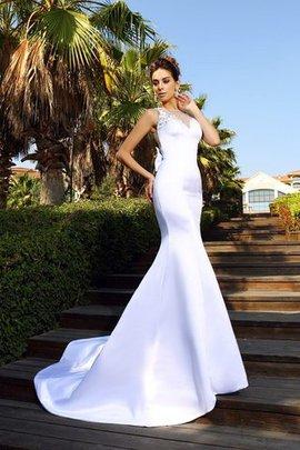 Meerjungfrau Stil Schaufel-Ausschnitt Satin Empire Taille Anständiges Brautkleid
