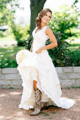 Spitze Ärmellos Prächtiges Sittsames Brautkleid mit Reißverschluss