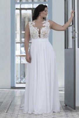 Klassisches Herz-Ausschnitt Juwel Ausschnitt Ärmellos Brautkleid mit Bordüre
