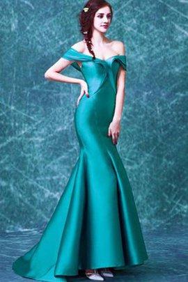 Schulterfreier Ausschnitt Meerjungfrau Reißverschluss Abendkleid mit Sweep Zug