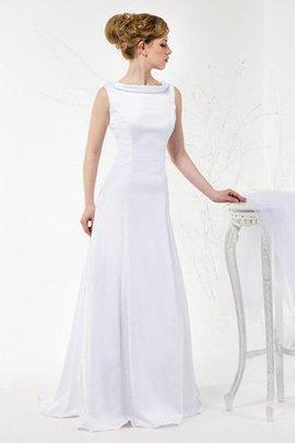 A-Line Ärmellos Bodenlanges Brautkleid aus Satin mit Wasserfall Ausschnitt