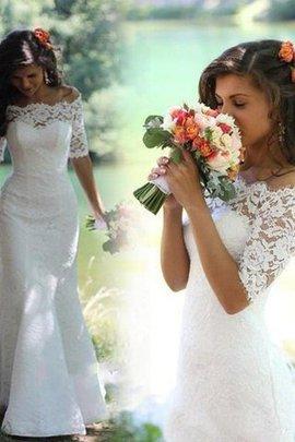 Ärmelloses Meerjungfrau Stil Sweep train Natürliche Taile Halbe Ärmeln Brautkleid
