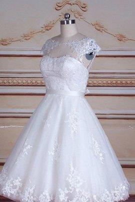 Schlüsselloch Rücken Schaufel-Ausschnitt Kurzes Brautkleid mit Bordüre mit Schleife