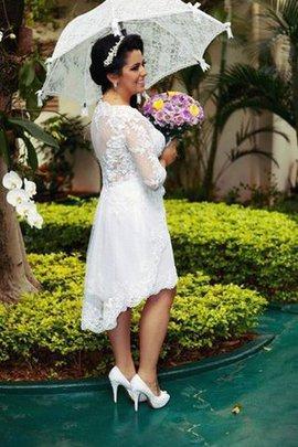 Zeitloses A-Line Plissiertes Sittsames Brautkleid mit V-Ausschnitt
