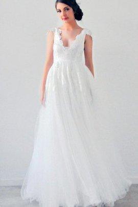 Strand Empire Taille Plissiertes Romantisches Brautkleid mit Kurzen Ärmeln