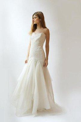 Gericht Schleppe Normale Taille Romantisches Anständiges Brautkleid aus Spitze