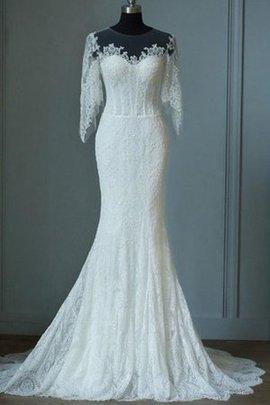 Vintage Halbe Ärmeln Bodenlanges Konservatives Brautkleid mit Reißverschluss