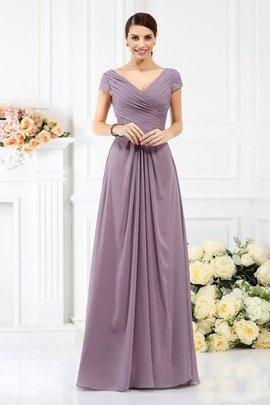 Drapiertes Prinzessin Plissiertes Bodenlanges Brautjungfernkleid mit Kurzen Ärmeln
