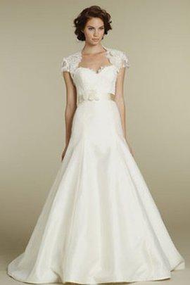 Spitze Herz-Ausschnitt Brautkleid mit Gürtel mit Schleife