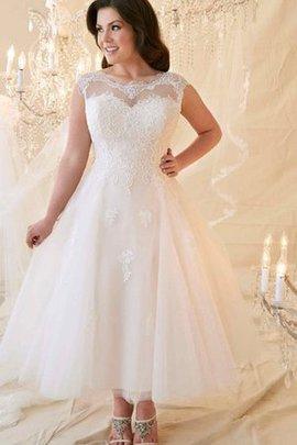 Drapiertes Schaufel-Ausschnitt Kurze Ärmeln Wadenlanges Brautkleid mit Bordüre