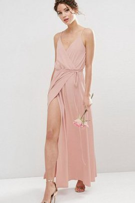 A-Line Etui Gerüschtes Brautjungfernkleid mit Plissierungen ohne Ärmeln