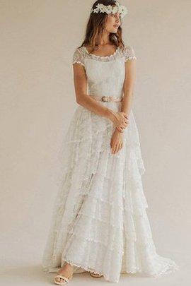 Tüll Schaufel-Ausschnitt Romantisches Legeres Brautkleid mit Plissierungen