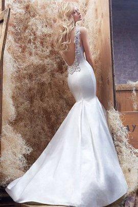 Meerjungfrau Satin Niedrige Taille Brautkleid mit Applikation mit Tiefem V-Ausschnitt