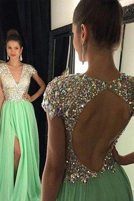 Natürliche Taile Prinzessin A Linie Abendkleid aus Chiffon mit V-Ausschnitt