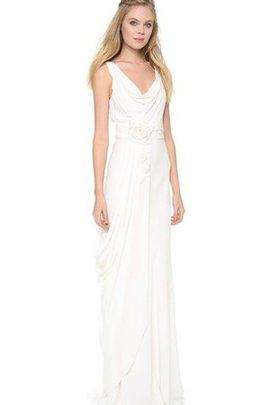 Etui Beach Stil Ärmelloses Gekerbter Ausschnitt Brautkleid mit Blume