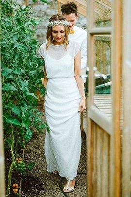 Etui Schaufel-Ausschnitt Getrennt Bodenlanges Brautkleid mit Kurzen Ärmeln mit Rüschen