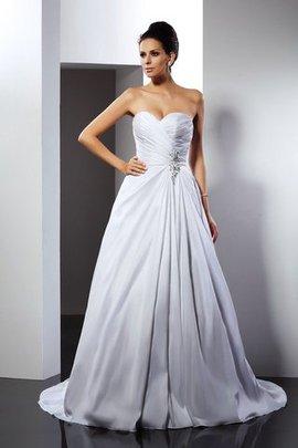 Prinzessin A-Line Anständiges Brautkleid aus Satin mit Rüschen