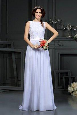 Ärmelloses Schaufel-Ausschnitt Chiffon Sittsames Brautkleid mit Bordüre