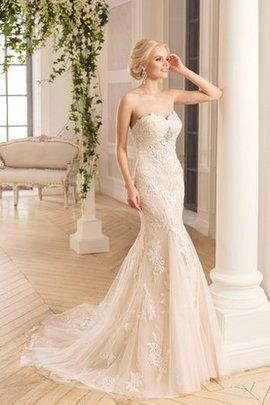 Rückenfreies Tüll Sittsames Brautkleid mit Applike mit Rücken Schnürung