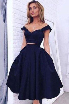 Prinzessin A Linie knielanges Abschlusskleid aus Taft mit Natürlicher Taille