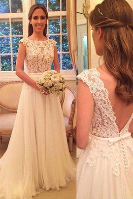 Normale Taille Prinzessin Chiffon Ärmelloses Brautkleid mit Schaufel Ausschnitt