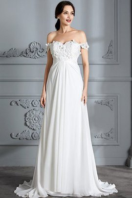 Schulterfrei Normale Taille Chiffon A-Line Brautkleid ohne Ärmeln