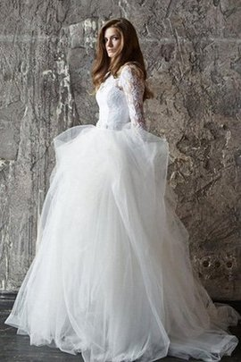 Duchesse-Linie Romantisches Luxus Brautkleid mit Langen Ärmeln mit Perlen