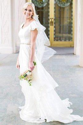 A linie Ärmellos Romantisches Brautkleid mit Rüschen mit Kurzen Ärmeln