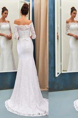 Sweep train Natürliche Taile Schulterfrei Langärmeliges Brautkleid mit Bordüre