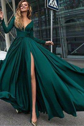V-Ausschnitt A-Linie Prinzessin Sweep Train Reißverschluss Abendkleid