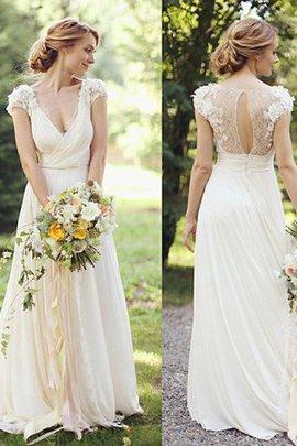 A-Line Funkelnd Normale Taille Prinzessin V-Ausschnitt Brautkleid mit Kurzen Ärmeln