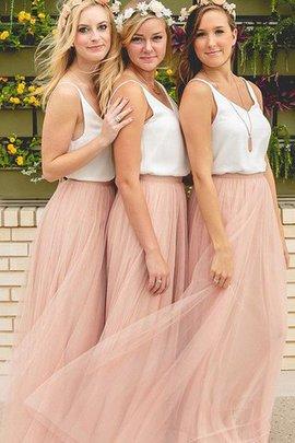 A linie Tüll Ärmelloses Bodenlanges Brautjungfernkleid mit V-Ausschnitt