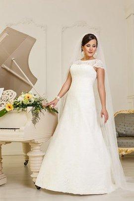 Kurze Ärmeln Natürliche Taile Spitze Brautkleid mit Rücken Schnürung mit Bordüre