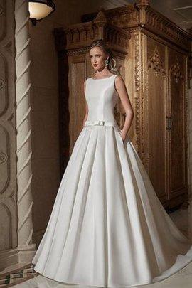 Zeitloses Natürliche Taile Bodenlanges Brautkleid aus Satin mit Drapierung
