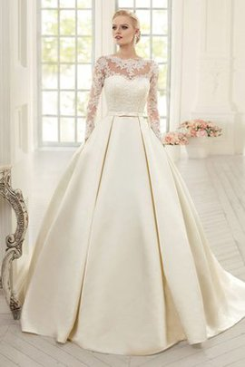 Spitze Juwel Ausschnitt Gericht Schleppe Bodenlanges Brautkleid mit Langen Ärmeln