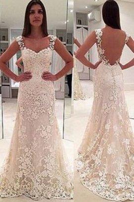 Gericht Schleppe Ehrbar Enges Rückenfreies Brautkleid ohne Ärmeln mit Bordüre