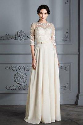 A-Line Prinzessin Natürliche Taile Brautkleid aus Chiffon mit Schaufel Ausschnitt