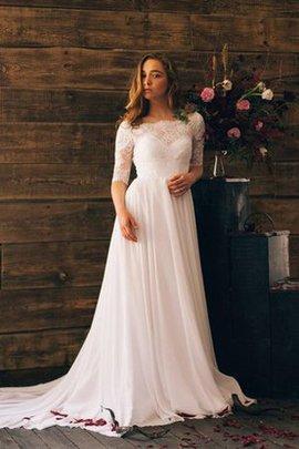 Gerüschtes Plissiertes Bateau Luxus Bodenlanges Brautkleid