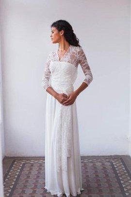 Spitze Vintage Ärmelloses Brautkleid mit Gürtel mit Drapierung
