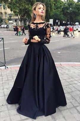 Satin Perlenbesetztes Duchesse-Linie Bodenlanges Abendkleid mit Langen Ärmeln