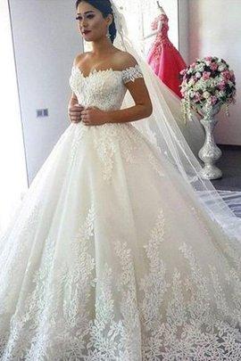 Ärmelloses Sweep Zug Ehrbar Schulterfreier Ausschnitt Brautkleid mit Bordüre aus Tüll