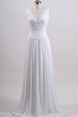 A-Line Reißverschluss Chiffon Gerüschtes Brautkleid mit Bordüre