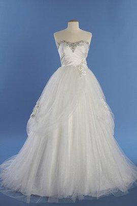 Zeitloses Outdoor Perlenbesetztes Formelles Brautkleid mit Rücken Schnürung
