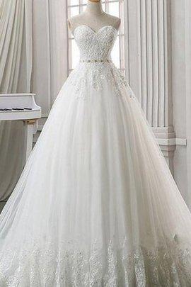 Spitze Herz-Ausschnitt Brautkleid mit Rücken Schnürung mit Applike