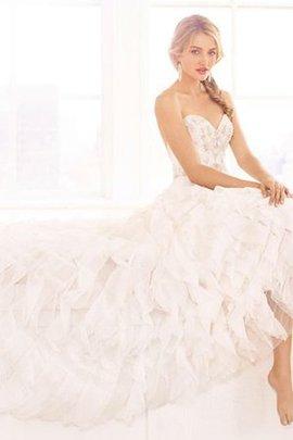 Rückenfreies A-Line Ärmelloses Brautkleid mit Perlen mit Herz-Ausschnitt