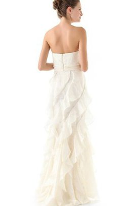 A-Line Normale Taille Taft Bodenlanges Brautkleid mit Rüschen