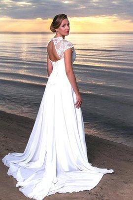A-Linie Strand Chiffon Schlüsselloch Rücken Kurze Ärmeln Brautkleid